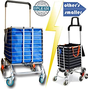 Hereinway 2020 Update Foldable Shopping Cart Portable Grocery Cart Utility Lightweight Stair Climbing Cart with Rolling Swivel Wheels and Removable Waterproof Canvas Removable Bag (Large/Blue)