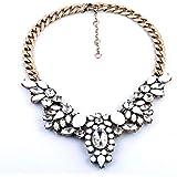 LCLrute Halskette Damen Mode Frauen Kette Crystal Statement Lätzchen Chunky Halsband Anhänger Halskette