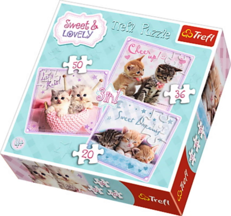 Trefl - 34809 - Puzzle - 3 en 1 - Sweet & Lovely - Chatons doux