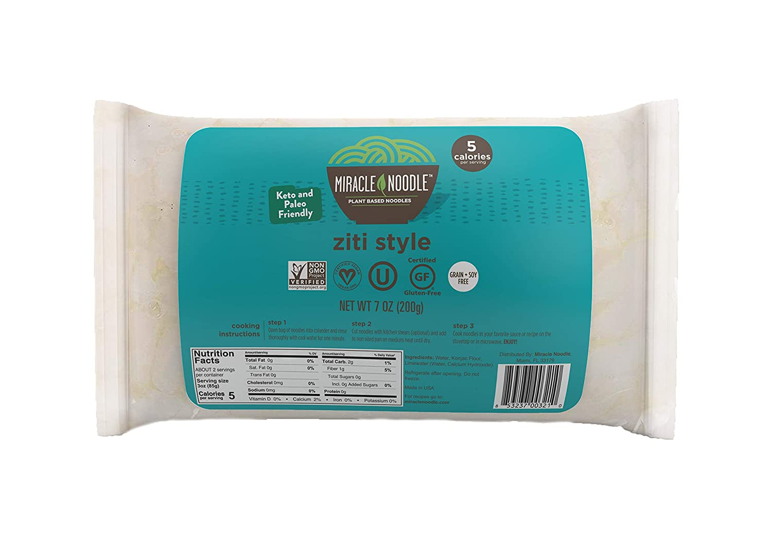 Miracle Noodle Ziti Shirataki Noodles, 7 oz (Pack of 6), Low Carbs, Low Calorie, Gluten Free, Soy Free, Keto Friendly