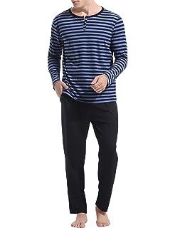 5d29dae3dcf0d Aibrou Pyjama Homme Coton Hiver Ensemble Pyjamas Chauds Homme Manche Longue  Col Rond