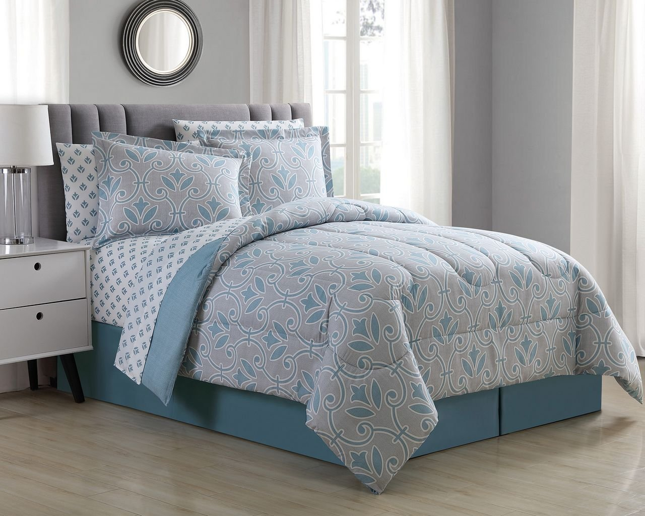 KingLinen 8 Piece Daventry Spa Blue/Taupe Comforter Set Queen