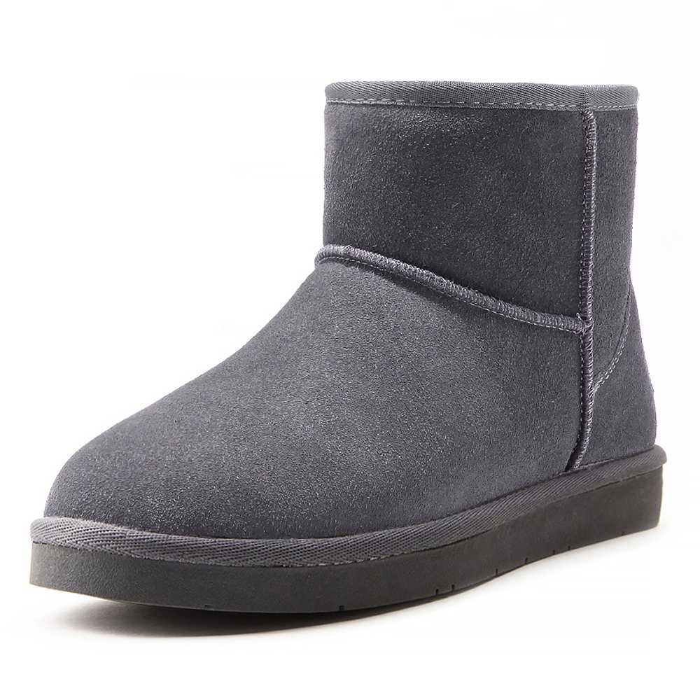 AOMAIS Women's Short Winter Boots Mid Calf And Mini Snow Boots Cow Suede Leather Faux Fur Linned Grey Size 8