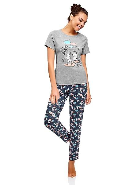 oodji Ultra Mujer Pijama de Algodón con Pantalones, Gris, ES 36 / XS
