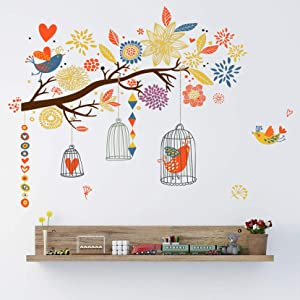 MOLANCIA Colorful Birdcage Wall Decals, Tree Branch Wall Stickers, Flower Flying Birds DIY Art Murals Wall Decoration for Girls Bedroom Kids Rooms Living Nursery Room, Vivid Plants Flower Wall Sticker