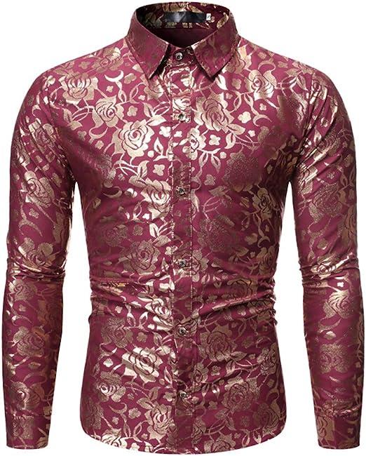 LISILI Camisas De Hombre Desig Rosa Dorada Manga Larga Ajustado Abotonar Florecido Impreso Elegante Camisa De Vestir,Rojo,M: Amazon.es: Hogar