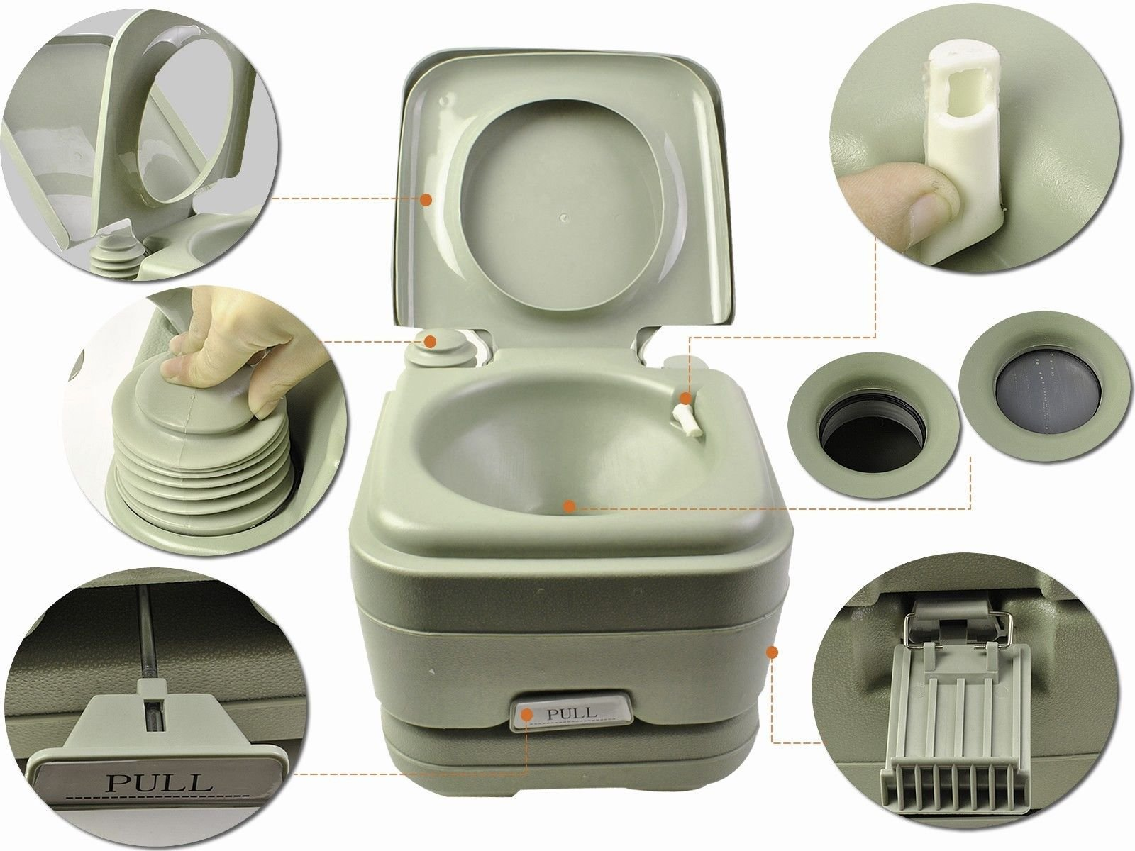 JDM Auto Lights 2.8 Gallon Portable Toilet Flush Travel Outdoor Camping Hiking Toilet Potty 10l by JDM Auto Lights (Image #2)