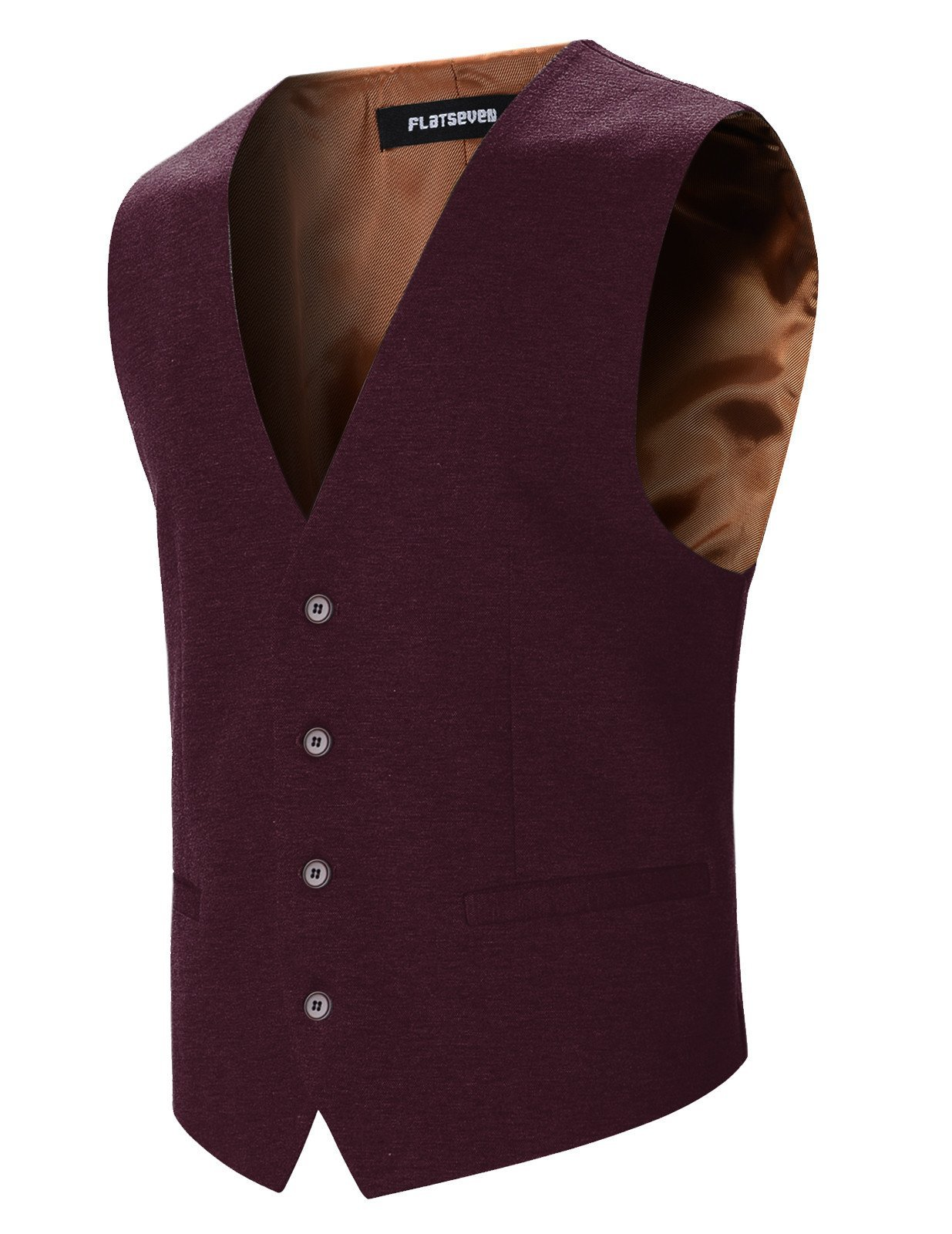 FLATSEVEN Mens Designer Stylish Casual Vest Premium (VE701) Wine, XL