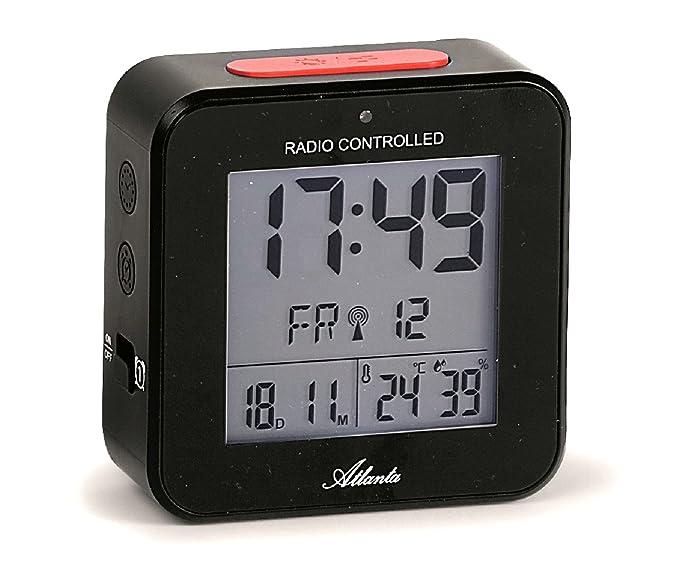 Atlanta Radio Despertador Despertador Digital LCD Luz Luz nocturna snooze Fecha Temperatura 2 alarmas sin tic tac), color negro – 1880 – 7