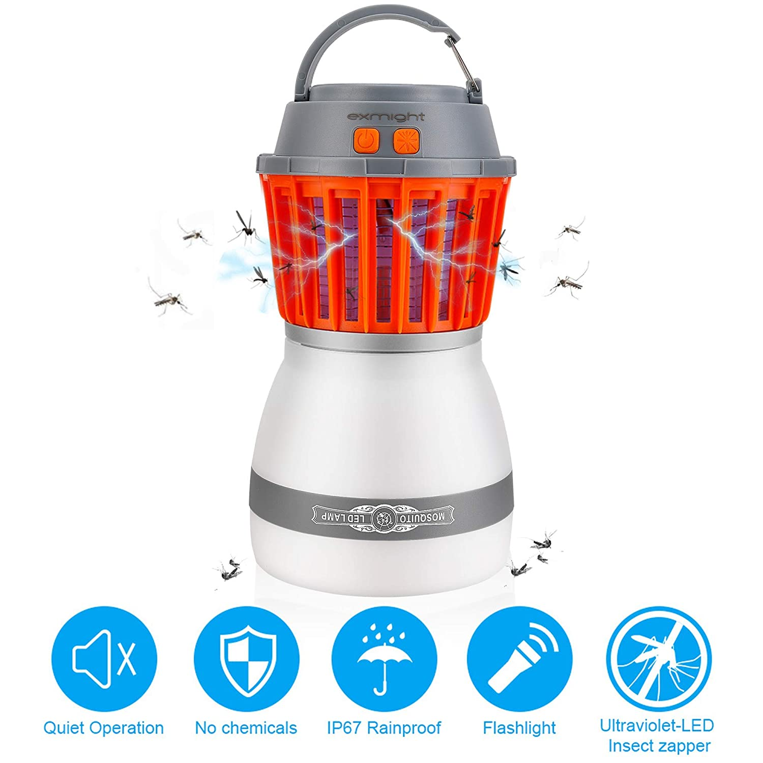 Bug Zapper Outdoor 2 In 1 Night LED Light Mosquito Killer Rechargeable Camping Light Tent Lantern Waterproof For Indoor & Outdoors, Home & Traveling exmight