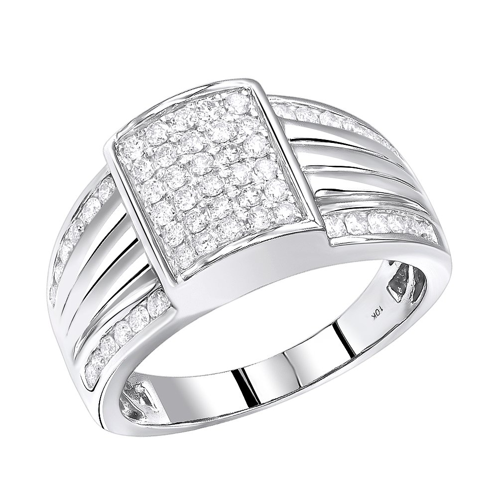 Mens 10K Gold Diamond Band Pinky Ring 1ctw (White Gold, Size 9.5)