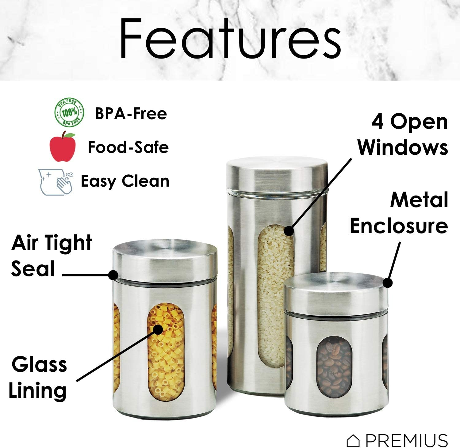 Air Tight Kitchen Canister Set By Premius 3 Piece Glass And Metal Canisters Quick Access And Space Saving Great Safe And Fresh Food Convenient Sizes Modern Design Stainless Steel Silver Kitchen Dining