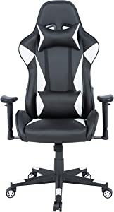 AmazonBasics BIFMA Certified Gaming/Racing Style Office Chair - with Removable Headrest and High Back Cushion - White
