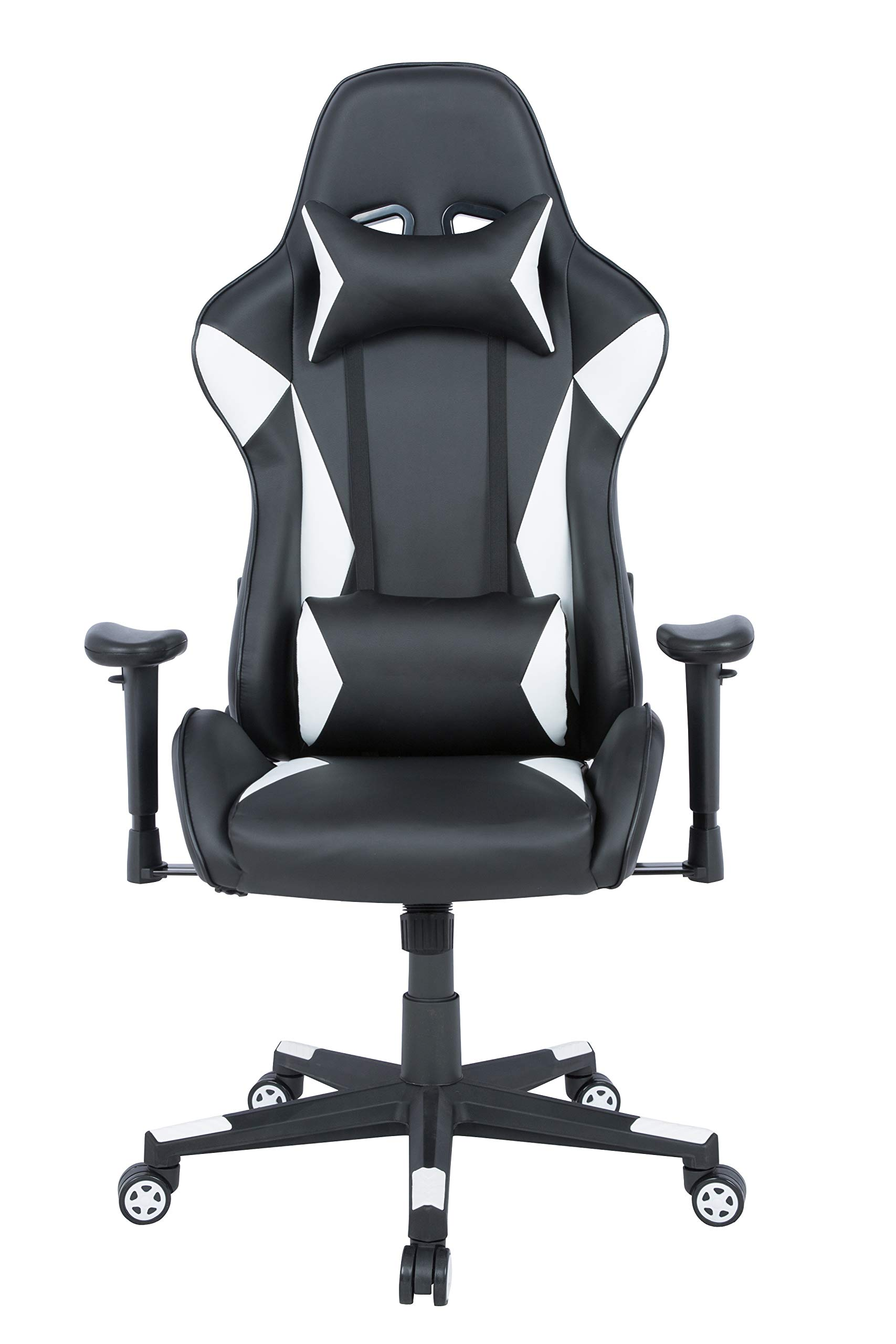 AmazonBasics Gaming Office Chair - Racing Style Seat with Headrest and Firm Lumbar Support - White