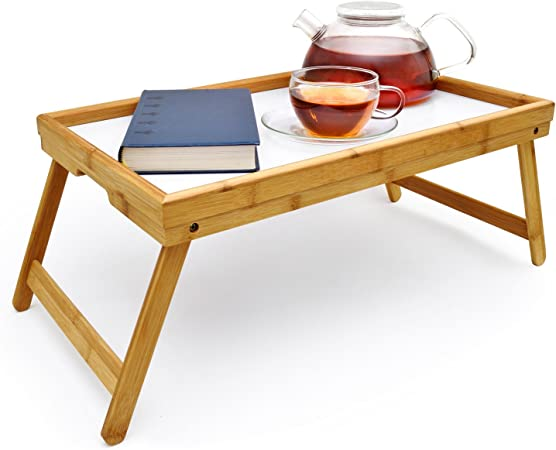 Betttisch Frühstückstablett Bett Tisch Serviertablett Holz Tablett klappbar