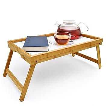 Frühstückstablett Bambus Bett Tablett Serviertablett Betttisch Mit