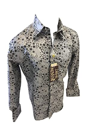 36ff1af1ba1 Flash Apparel Mens Manzini Button Down Dress Shirt White Floral Paisley  French Cuff 270 NWT (