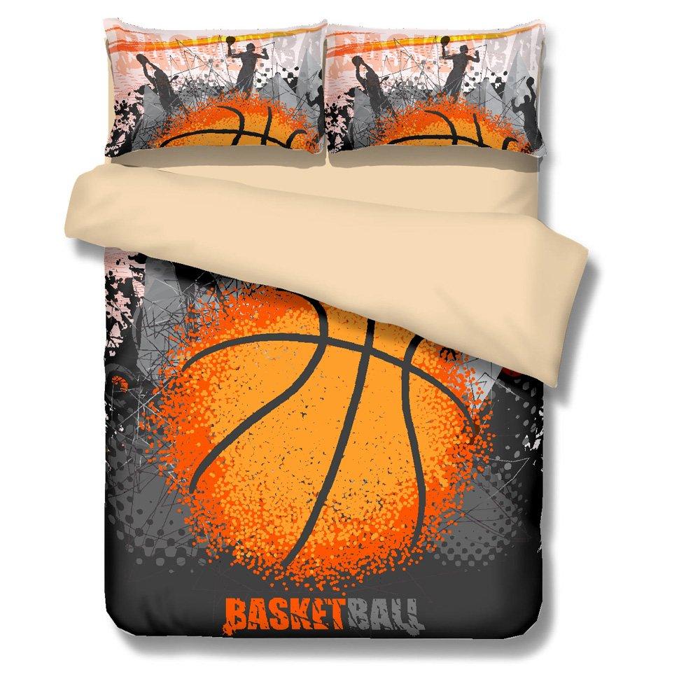 Mangogo American Fantastic Basketball Comforter Cover Bedding Set with PillowcasesDesign,Kids Boys Bedroom No Comforter Duvet Cover Sports Themed Bedding Twin Size