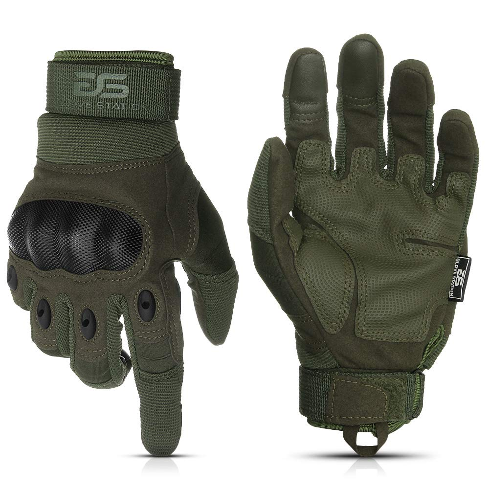 Glove Station The Combat Military Police Outdoor Sports Tactical Rubber Hard Knuckle Gloves for Men (Green, X-Large) by Glove Station