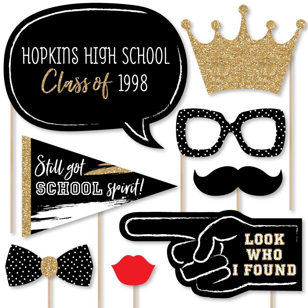 Big Dot of Happiness Personalized Reunited - Custom School Class Reunion Party Photo Booth Props Kit - 20 Selfie Props