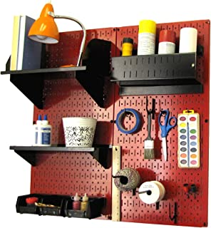 product image for Wall Control Pegboard Hobby Craft Pegboard Organizer Storage Kit with Red Pegboard and Black Accessories