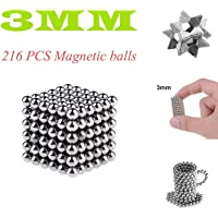 UE Magic Building Ball Toys for Stress Relief & Gift for Adults, Great for Office School Home Education(Silver, 216, 3MM)