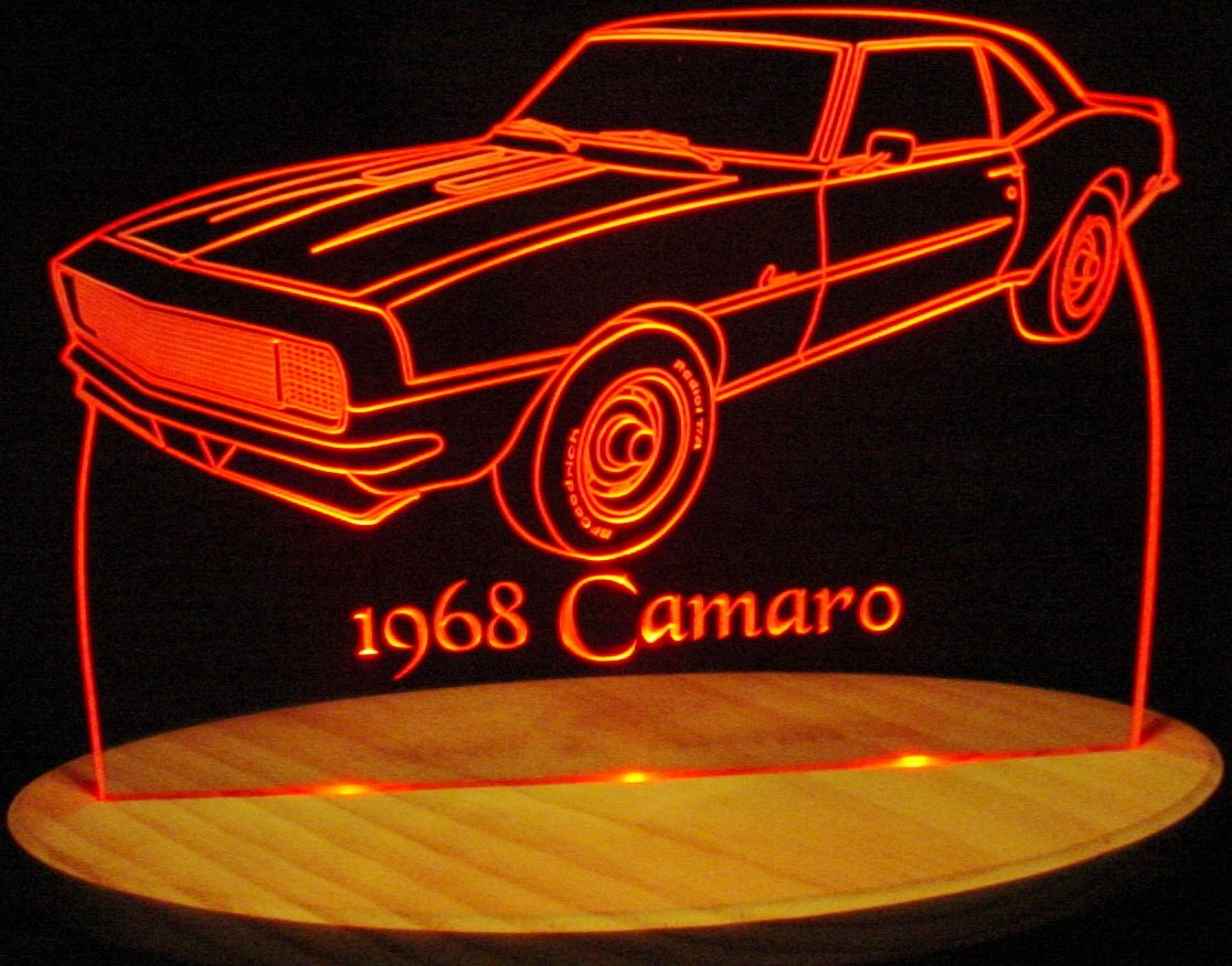 1968 Camaro RS SS Acrylic Lighted Edge Lit 13'' LED Sign / Light Up Plaque 68 VVD1 Full Size USA Original