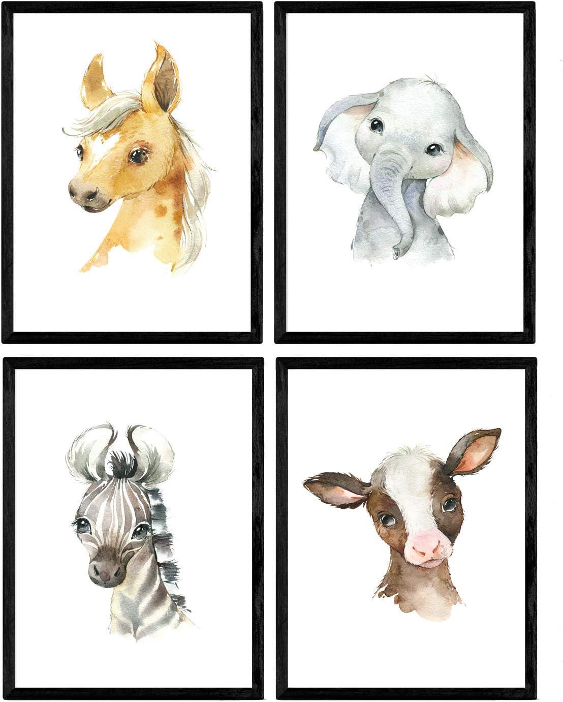 Pack de Cuatro láminas con Ilustraciones de Animales. Posters con imágenes Infantiles de Animales. Vaca Elefante Caballo y Cebra. Tamaño A4 sin Marco…