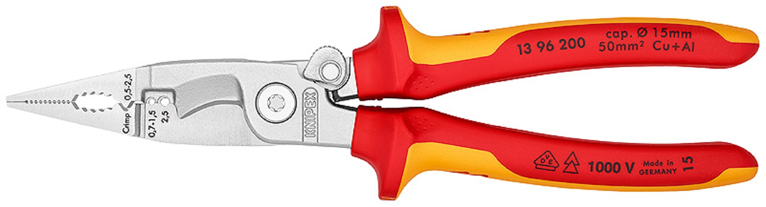 13 96 200 T BK Pliers For Electrical Installation VDE-Tested with Tether Attachment Pt. In Blister Packaging