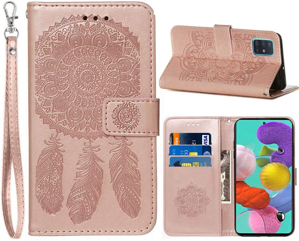 Phone Case for Samsung A51,Galaxy A51 Case Wallet,JanCalm Classic Pattern Premium PU Leather [Wrist Strap] [Card Holder/Cash Slots] Stand Flip Cover Samsung Galaxy A51 Case for Girls Women (Rose Gold)