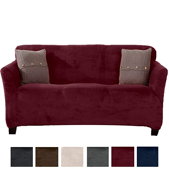 Great Bay Home Modern Velvet Plush Sofa Slipcover. Strapless Couch Cover, Stretch Slipcover for Couch, Soft Sofa Cover for Living Room. (Sofa, Zinfandel Red)