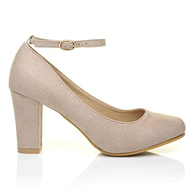 578be4c636 Zara Nude Suede Block Heel Ankle Strap Round Toe Court Shoes  Amazon.co.uk   Shoes   Bags