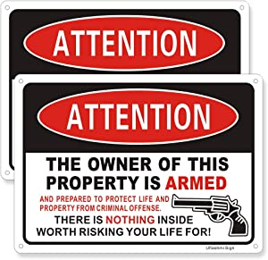 Uflashmi Private Property Signs with Gun, The Owner of This Property is Armed Sign Warning Sign for House Home Fence Wall Yard Outdoor, 2 Pack Metal Aluminum, 7x10 inch, Gun Sign