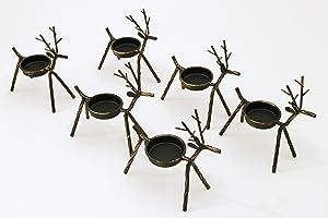 Reindeer Tea Light Holders Iron Rustic Finish Set of 6 by LTD Commodities