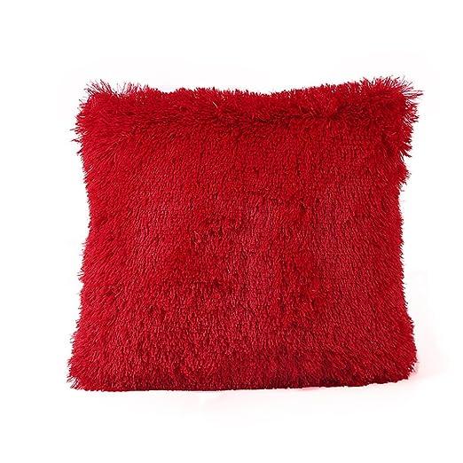 Xinantime Funda Cojines,Xinan Funda Almohada Cojín Decoración Felpa (Rojo)