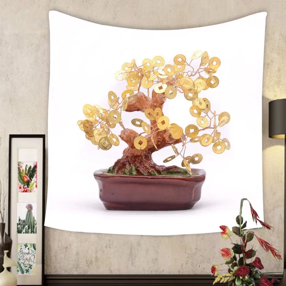 Carolyn J. Morin Custom tapestry bonsai tree with coins isolated on white