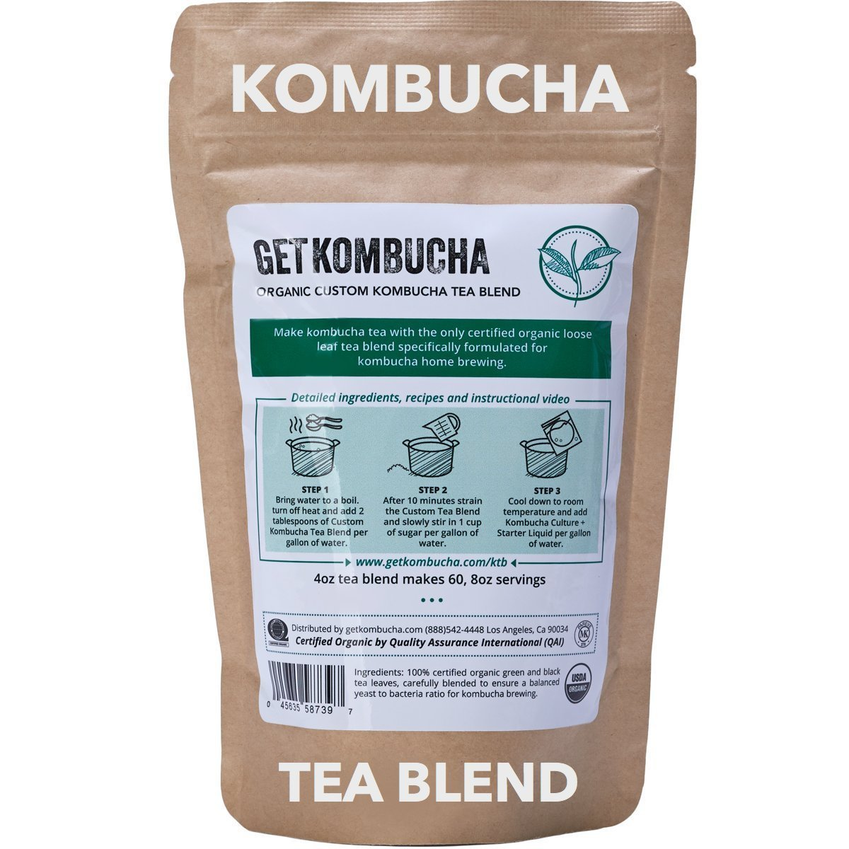 Get Kombucha, Certified Organic Kombucha Tea Blend - (60 Servings) 4 Ounce
