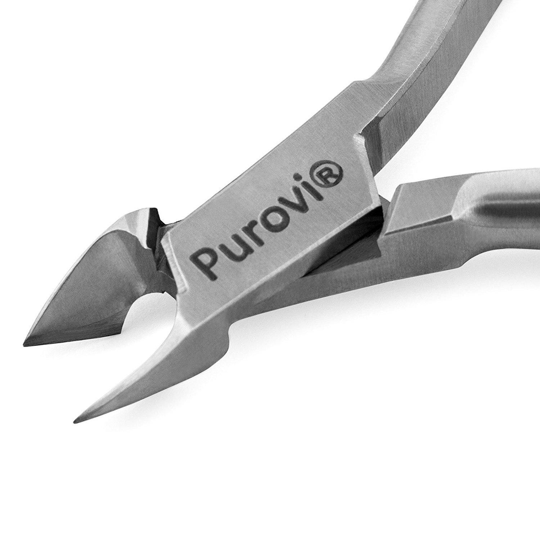 Purovi® Pince à Cuticules de Haute Qualité | Pinces à Ongles Précis | Surface de Coupe de 7 mm | outil professionnel cosmétique VIM-1007