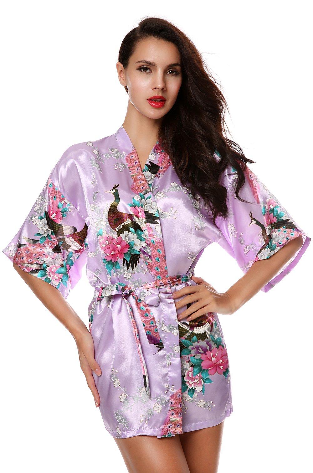 wearella Women Kimono Short Robe Peacock and Blossoms Silk Nightwear Bathrobe (XXL, Style 2- Light Purple)