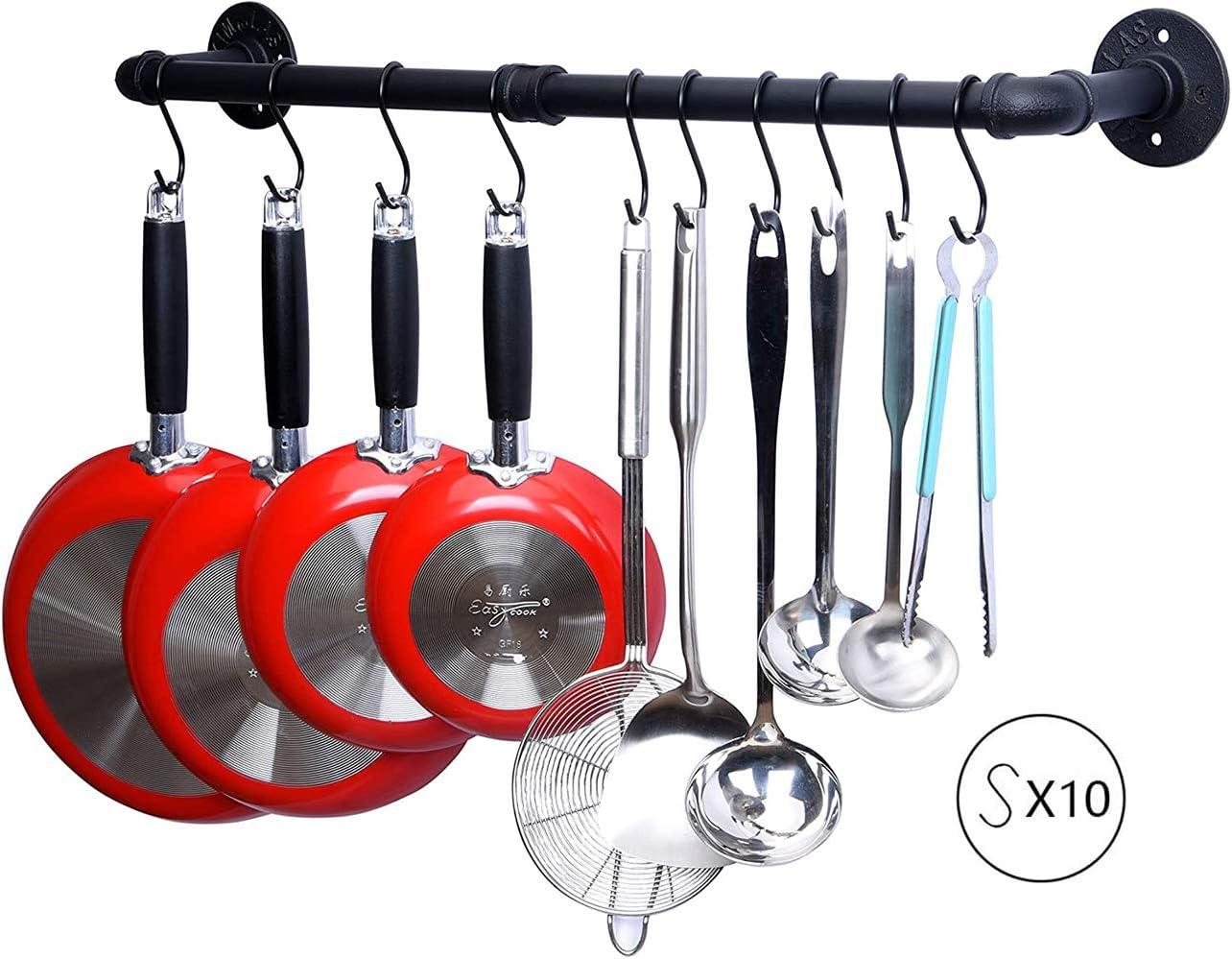 con tapa de olla y esp/átula para colgar Soporte de pared para utensilios de cocina con 10 ganchos organizador de ollas y sartenes para colgar