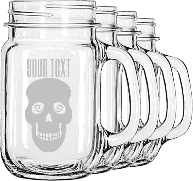 Skulls Mason Jar Mugs (Set of 4) (Personalized)