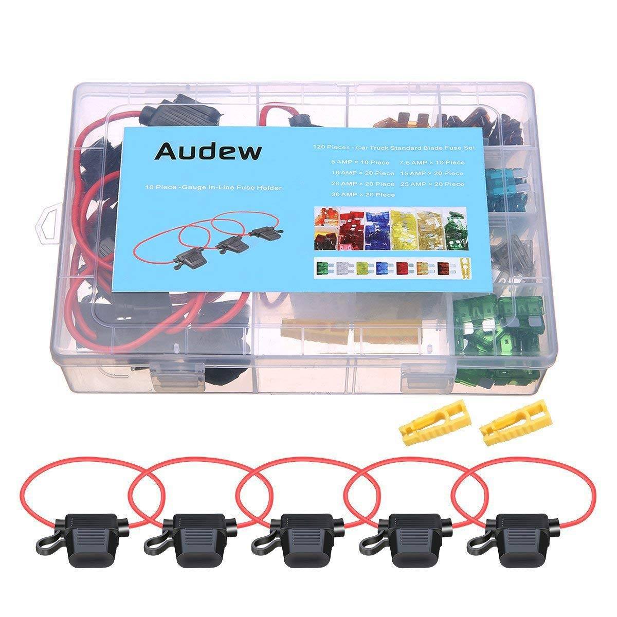 AUDEW Car Blade Fuse Set 120pcs Standard Assorted Fuses + 10 Inline Fuse Holders Automotive Replacement Fuses for Car Truck SUV RV Boat (5/7.5/10/15/20/25/30 AMP)