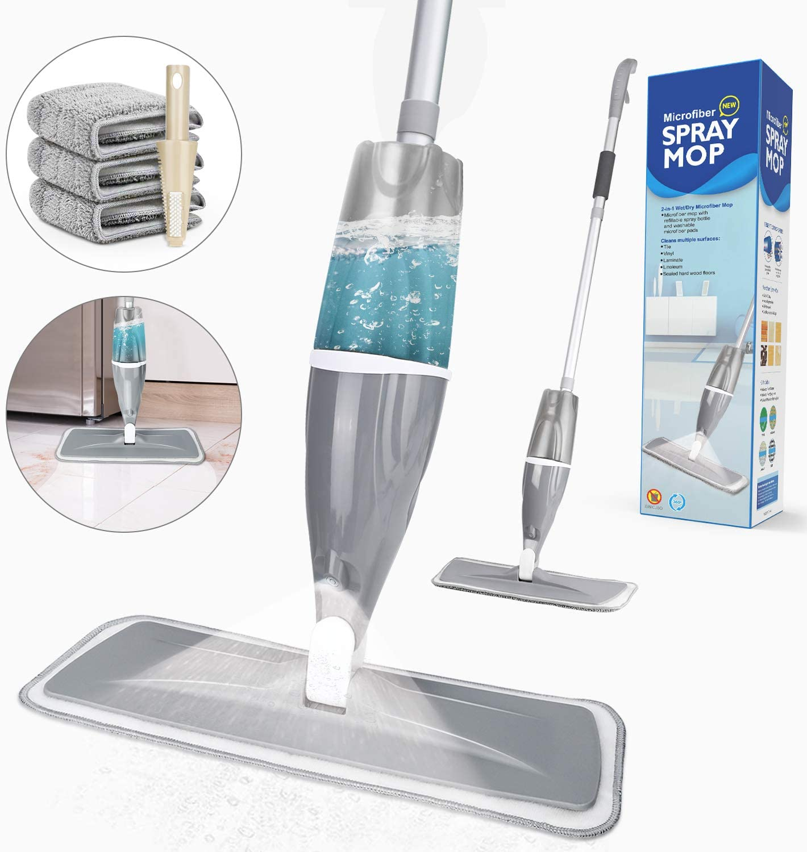 Mopas con pulverizado paño de microfibra, color gris