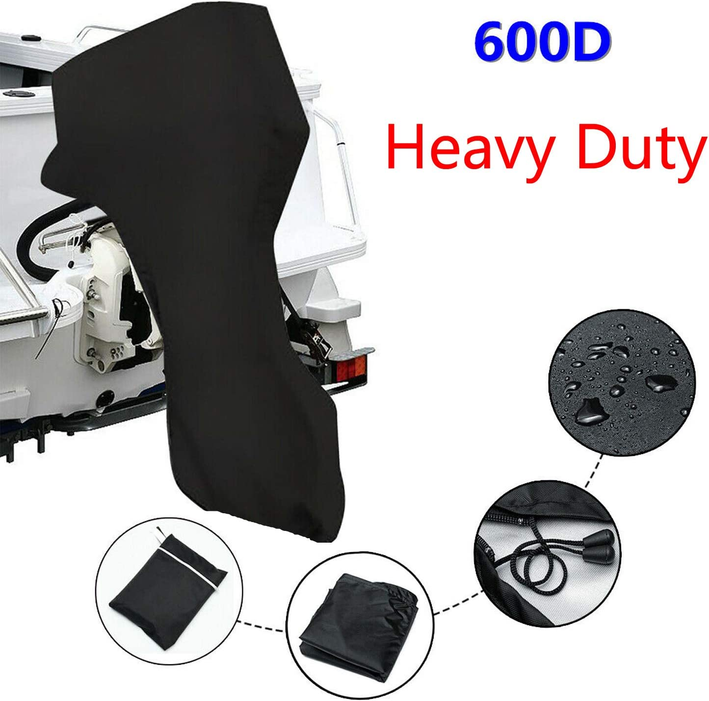 ConPus Boat Motor Covers 60HP - 100HP - 150HP Full Outboard Motor Cover with 600D Heavy Duty Oxford Fabric + Extra PVC Coating,Waterproof Outboard Engine for mercury motor cover boat 60hp 100hp 150hp
