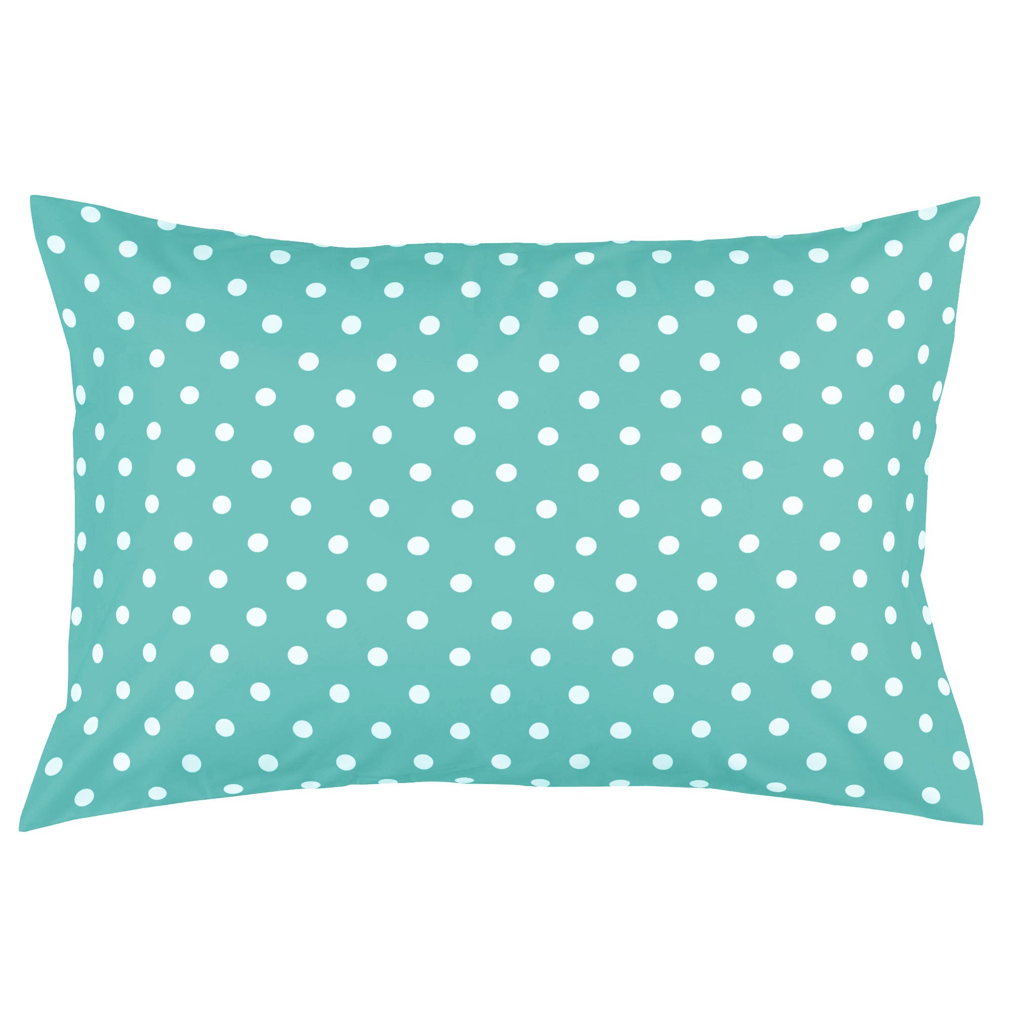 Toddler Pillowcase by Dreamtown Kids. 100% Cotton. Turquoise Polka DOT