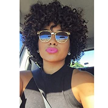 Amazon Com Short Curly Human Hair Wigs For Black Women Udu Brazilian Deep Wave None Lace Front Wig With Bangs Deep Curly Wigs Deep Curly Wig Beauty