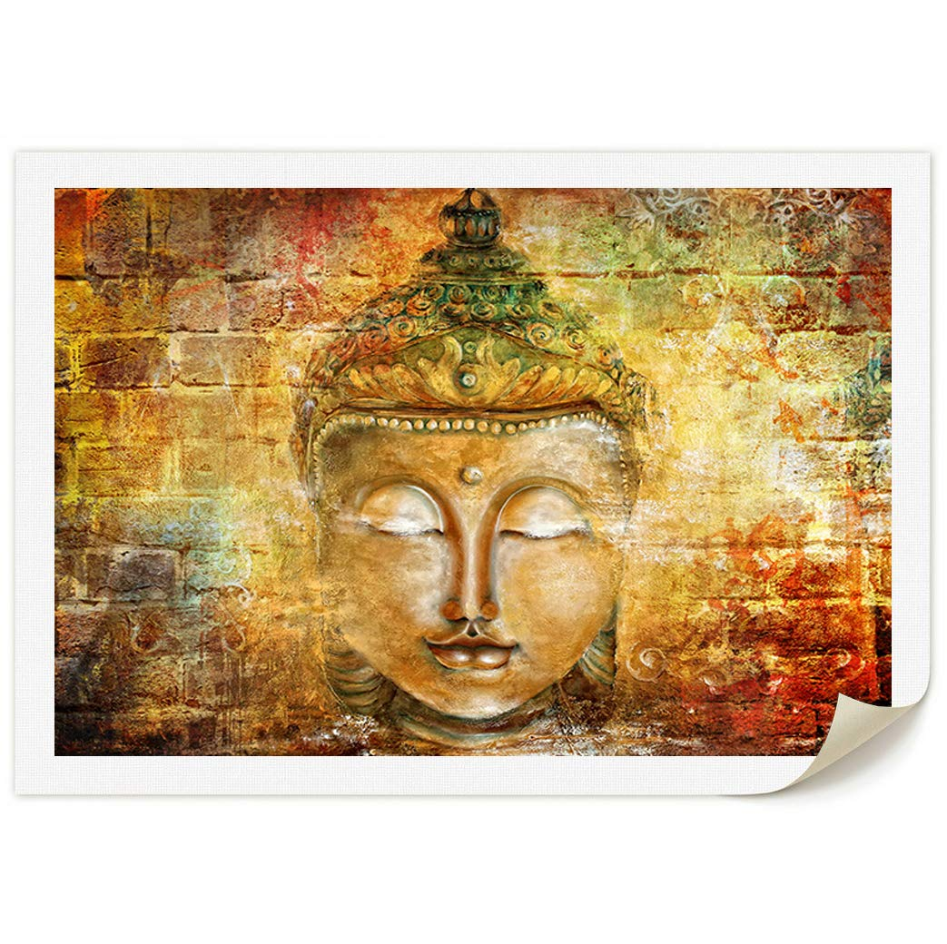 DAXIPRI Buddha Head Zen Wall Art Decor Home Office Decorations Prints on Canvas Hand Painted Canvas Buddhist Oil Paintings 1 Piece Warm Yellow Color Living Room Bedroom 48'' W x 36'' H - NO Framed