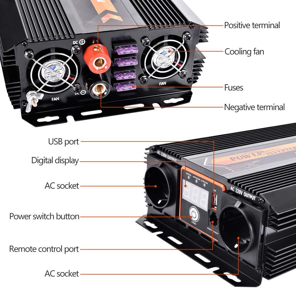 WZTO 1000W Inversor de Corriente DC 12V a AC 220V-240V Convertidor de Corriente con 2 Puertos USB DC 5V/2.1A y 2 AC Toma Enchufe, Inversor para Coche ...