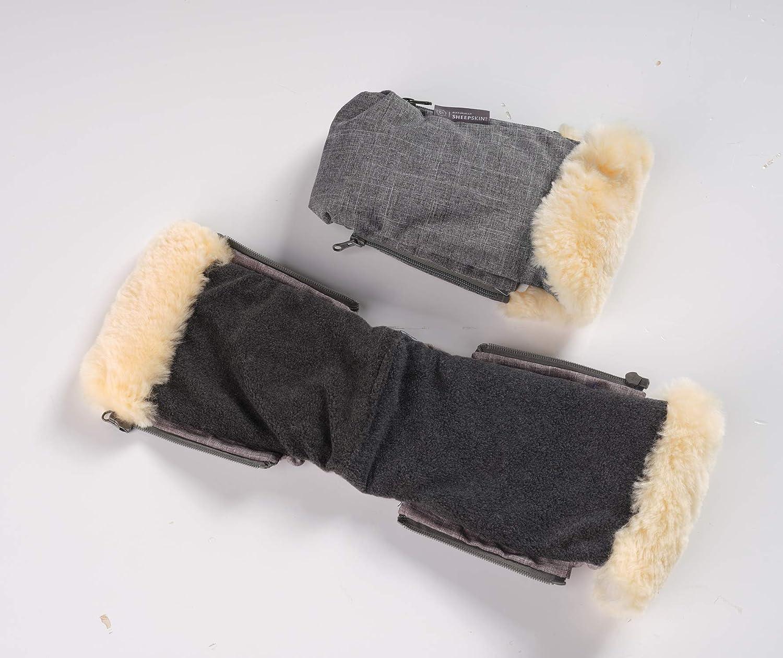 Naturally Sheepskins Polaire Mitts main en peau de mouton rouleau Lin/éaire//gris