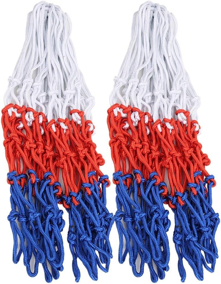 alta confiabilidad para entrenamiento deportivo al aire libre Engrosado malla de borde de rejilla para ni/ños tricolor tejida de 2 piezas con buena dureza Redes de anillo de baloncesto est/ándar